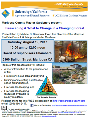 Firescaping Workshop @ Supervisors Chambers | Mariposa | California | United States